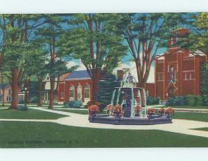 Unused Linen FOUNTAIN AND BUILDING AT BARKER COMMON Fredonia New York NY Q9112