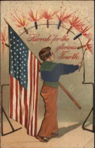 Boy American Flag Fireworks PFB w/ Applique SCARCE VERSION c1910 Postcard