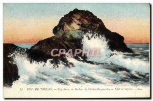 Old Postcard From Toulon Approx De Sainte Marguerite Rocks wave effect