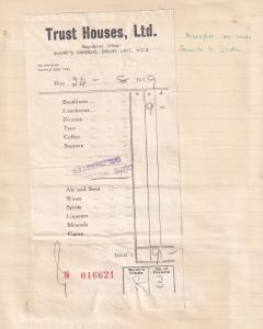 Colchester Harwich to London 1939 Breakfast Trust House Forte WW2 Receipt