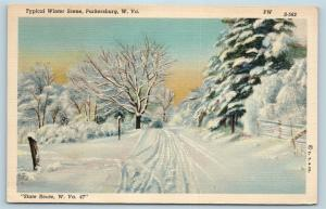 Postcard WV Parkersburg Typical Winter Scene on Route 47 Vintage Linen J23