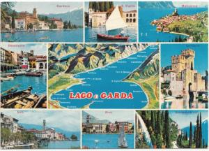 LAGO di GARDA, multi view and small map, 1976 used Postcard