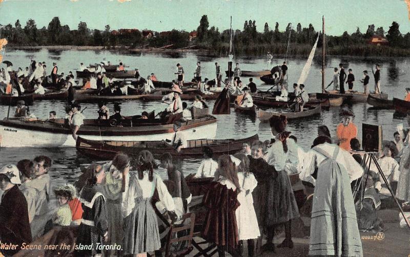 Canada Water Scene near the Island Toronto Harbour Boats Postcard
