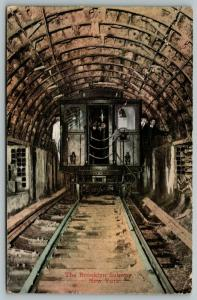Brooklyn New York~Passengers Stick Heads Out of Train Car in Subway Tunnel~1911