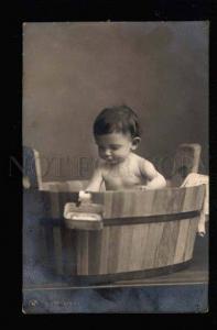 044604 Boy in Wooden Basin. Vintage PHOTO