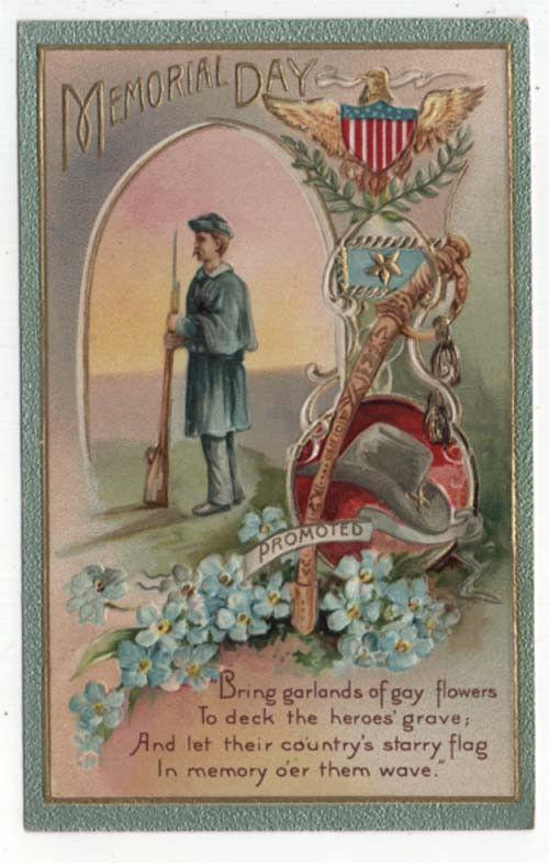 Early Decoration/Memorial Day Post Card, Lone Soldier, Hat, Sabre, Blue Flowers