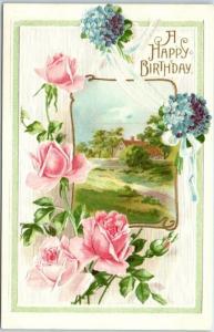 1910s A HAPPY BIRTHDAY Greetings Postcard Pink Roses / Country Scene - UNUSED