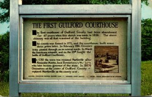 North Carolina Greennsboro Marker Of First Guilford Court House 1965