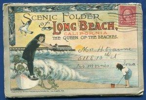 Long Beach California ca Queen of the Beaches postcard folder1920s