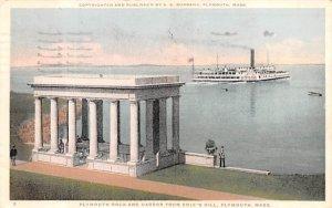 Plymouth Rock & Harbor  Massachusetts Postcard