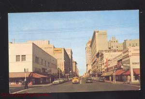 FRESNO CALIFORNIA DOWNTOWN FULTON STREET SCENE 1950's CARS VINTAGE POSTCARD
