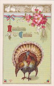 Thanksgiving Turkey With Red White and Blue Ribbon