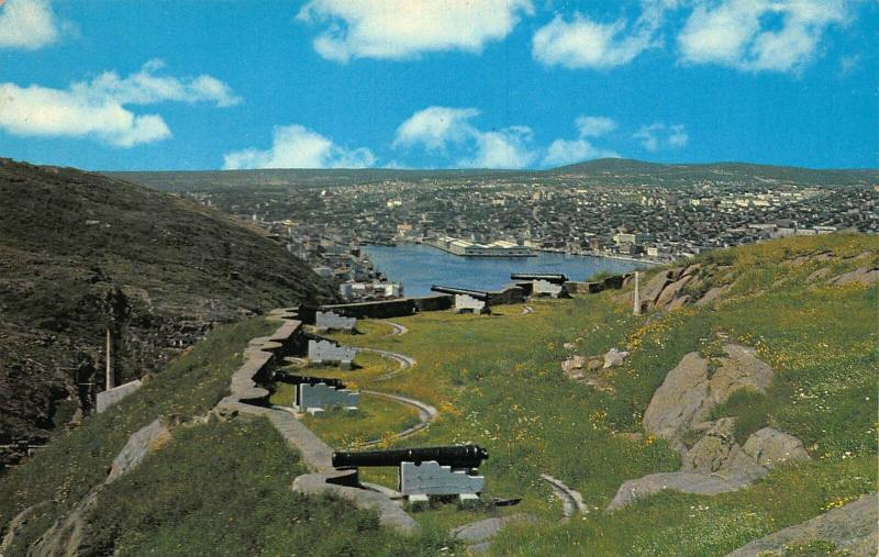Canada St John's Newfoundland Signal Hill Queen's Battery Harbour Postcard