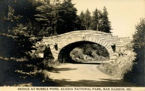 ME - Acadia National Park. Bridge at Bubble Pond      RPPC