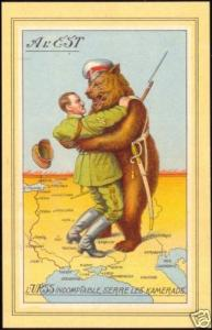 WWII Caricature Russian Bear Embraces Hitler in Poland