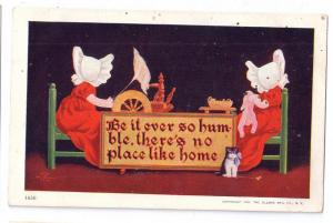 Sunbonnet Girls Ullman Motto Postcard No Place Like Home UDB