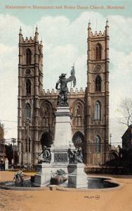 Canada Montreal Maisonneuve Monument and Notre Dame Church