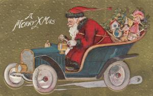CHRISTMAS; Santa Claus Drives an automobile , 1900-10s