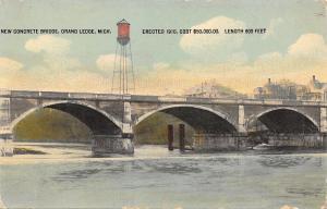 Grand Ledge Michigan~Concrete Bridge~Water Tower~Homes~1910 Postcard