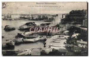Old Postcard Biarritz Port Picturesque fishermen and hotel
