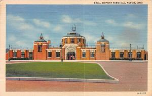 Airport terminal, Akron, Ohio, Early linen Postcard, Used in 1943