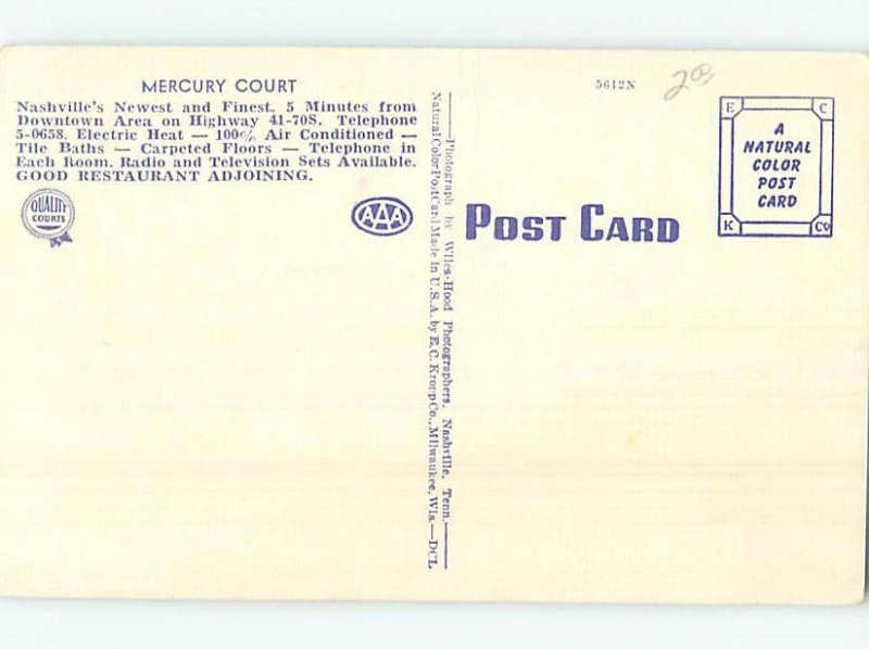 Linen MOTEL SCENE Nashville Tennessee TN AD9761