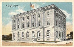 U.S. Post Office, Minot, North Dakota Ward County c1920s Vintage Postcard