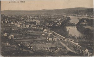 KOBLENZ , spelled COBLENZ here - pre 1910 aerial view of town & river