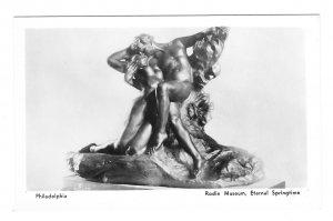 RPPC Sculpture Eternal Springtime Rodin Mueseum Philadelphia Lutz 1937 Postcard