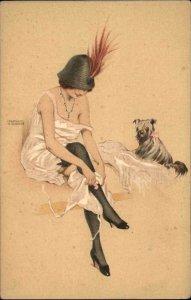 Raphael Kirchner Woman Negligee Dog RIQUETTE et SON CHIEN Postcard c1910