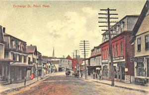Athol MA Exchange Street Store Fronts Horse & Wagon Postcard