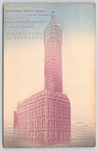 New York City~Heavily Embosssed Airbrushed Singer Building~c1910 Postcard