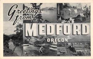 Medford Oregon Large Letter Greetings Antique Postcard J62060