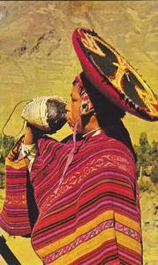 Indian Boy Playing The Pututo, Pisac, Peru, 1940-1960s