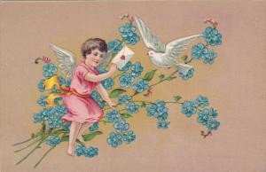 Cupid giving sealed note to pigeon, Forget-Me-Not flowers, 00-10s