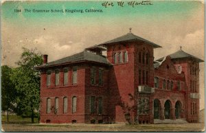 Kingsburg, California Postcard The Grammar School HAND-COLORED - 1909 Cancel