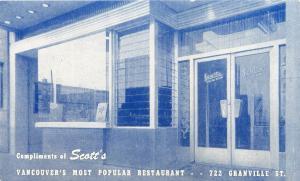 VANCOUVER BC CANADA SCOTT'S RESTAURANT ON GRANVILLE ST PROMO  POSTCARD 1960s