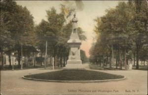 Bath NY Washington Park Monument c1915 Hand Colored Postcard