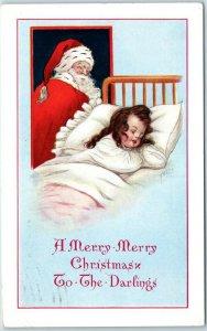 Vintage Gibson SANTA CLAUS Christmas Postcard w/ Sleeping Girl in Bed - 1914