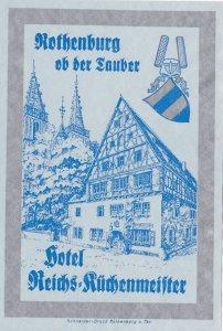 Germany Rothenburg Hotel Reichs Kuechenmeister Vintage Luggage Label sk3880