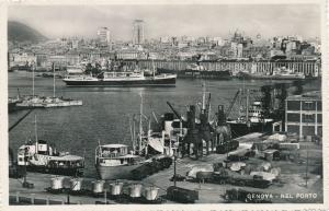 RPPC Ships in Harbor and Port at Genoa - Genova, Italy - pm 1953