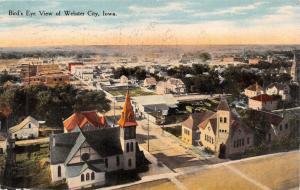WEBSTER CITY IOWA BIRD'S EYE VIEW EDWARD McFARLANE POSTCARD 1910