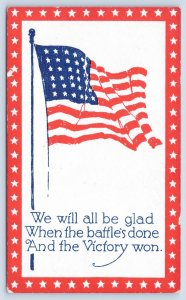 WWI Patriotic~Old Glory Flag~Red White Star Border~All Glad When Victory's Won