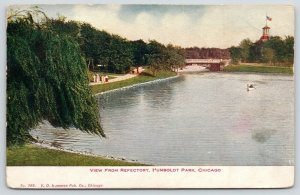 Chicago Illinois~Humboldt Park~View From Refectory~Weeping Willow Trees~1910