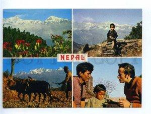 221881 NEPAL Himalayas Old photo collage Finnish RPPC