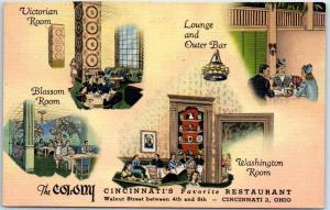 Cincinnati, Ohio Postcard THE COLONY RESTAURANT Lounge Oyster Bar Linen 1950s