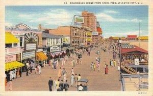 Boardwalk Scene From Steel Pier ATLANTIC CITY, NJ Linen 1937 Vintage Postcard