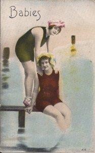 Two Beautiful Women, Swimsuits, Sexy Affectionate Girls, 1910, Lesbian Interest?