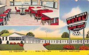 LA PLATA MARYLAND SOUTH WINDS MOTEL & DINER POSTCARD c1954
