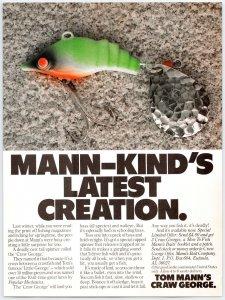 1982 Vintage Tom Mann Craw George Fishing Lure Original Print Ad Man Cave  A2